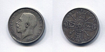 Great Britain King George V 1913 Florin (2 shilling coin) - FREE UK POSTAGE