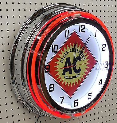 "18"" ALLIS-CHALMERS A-C Sign Double Neon Clock"