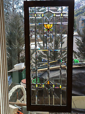 Vtg Arts & Crafts Movement Beveled & Stained Glass Window - Colorado Bungalow #1