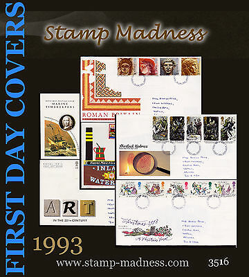 GREAT BRITAIN / UK FIRST DAY COVERS FDC Collection 1993 from bulk buy