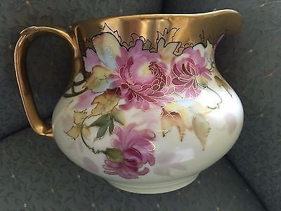 Exquisite 5'' Antique Limoges Pickard Syrup Pitcher With HP And Enameled Floral