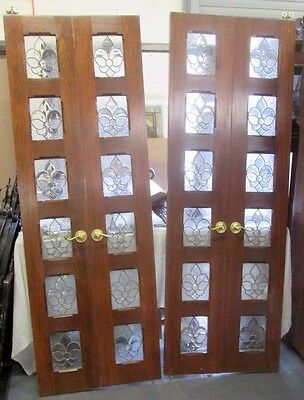 Vintage Architectural Interior Double Pocket Doors W/beveled, Etched Glass Panes