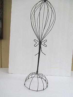 Antique Vintage Style Charcoal Metal Wire Hat Display Stand 3882