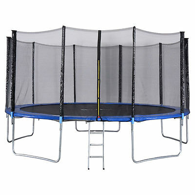 15 FT Trampoline Combo Bounce Jump Safety Enclosure Net W/Spring Pad Ladder