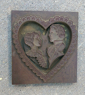 VTG* leather press/foil stamp*Victorian couple*heart*embossing* book binding*LG*