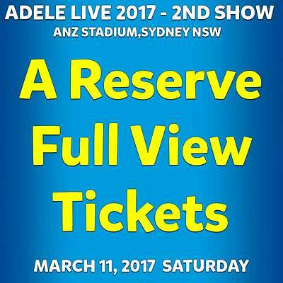 Adele | Sydney | A Reserve - Full View Tickets | Sat 11 Mar 2017