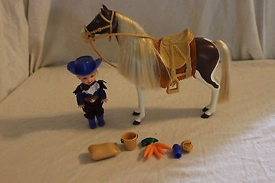 Barbie Kelly Tommy cowboy w/western pinto pony horse & accessories