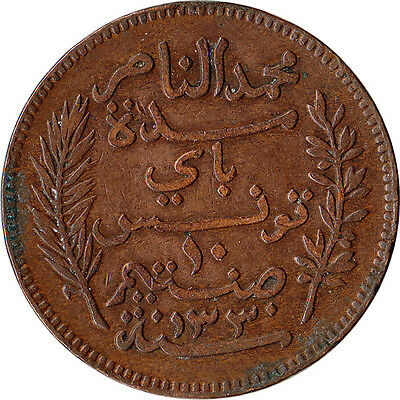 1912 (AH 1330) Tunisia (French) 10 Centimes Large Coin KM#236 Mintage 500,000