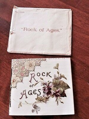 RAPHAEL TUCK GREETING CARD BOOKLET ROCK OF AGES WITH ENVELOPE no. 1124 EXC