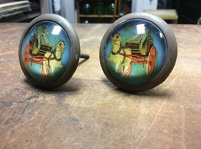 Set Of Two Antique Reverse Painted Glass Curtain Tie Backs Horse And Buggy A