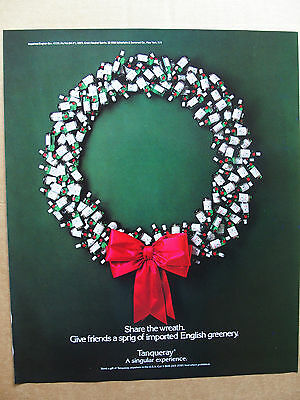 1988 Tanqueray Holiday Wreath red bow magazine print ad