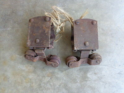 SET VINTAGE 1 PAIR Old BARN DOOR ROLLERS HANGER Steel  Cast Iron Roller Wheel