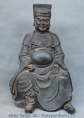 """12"""" Chinese Fengshui Pure Bronze Seat military officer general Statue sculpture"""