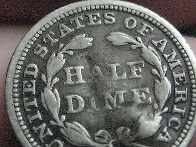 1858 Seated Liberty Half Dime- Very Good/VG Details