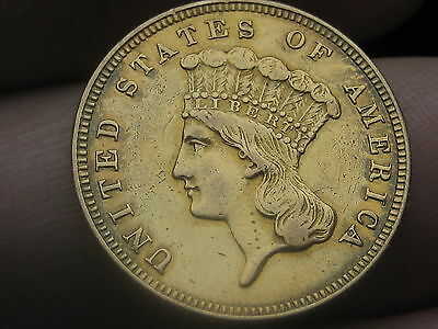 1859 $3 Gold Indian Princess Three Dollar Coin- XF Obverse Details, Very Rare