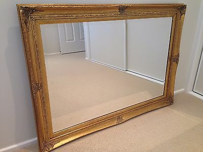 Large Bevelled Wall Mirror - Gold Frame 100cm X 75cm