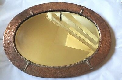 Early 20th Century Hammered Planished  Brass Oval Bevelled Mirror