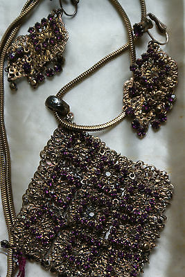 Gorgeous Old Vintage Necklace & Clip on Earrings Set Purple Amethyst Rhinestones