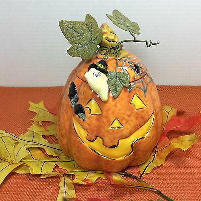 NEW!! Ceramic Jack O Lantern Ghost Candle with Lid Pumpkin Bats Ghost Spider