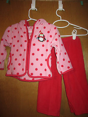 Infant Girls Carter's Pink and Red Polka Dot Fleece Outfit 18 month