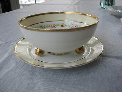 Vintage Antique RC NIPPON 3 Footed Bowl with Matching Drip Saucer