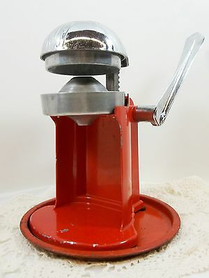 Juice-O-Mat Citrus Juicer Red Chrome Manual Single Action Lemon Orange Rival VTG
