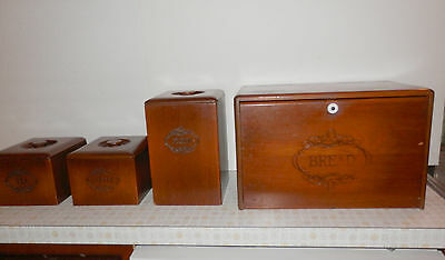 Vintage Wooden Bread Box and Canister Set