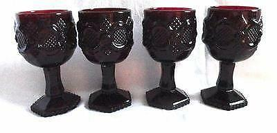 Vintage Avon Cape Cod Ruby Red Glass Small Water/ Wine Goblets - Set Of 4