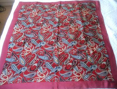 Vintage Country Roads Printed Pure Silk Scarf Square Maroon Grey Cream Paisley