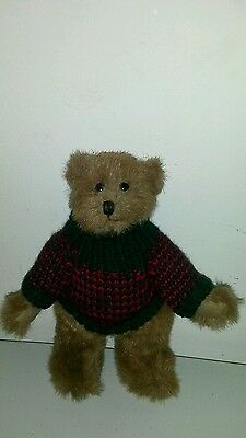 """8"""" Boyd's Jointed Brown Bear Wearing Red & Green Sweater"""