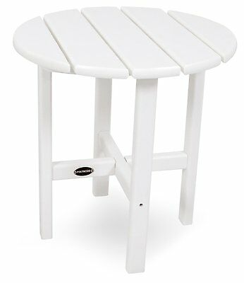 POLY-WOOD RST18WH Round 18-Inch Side Table, White