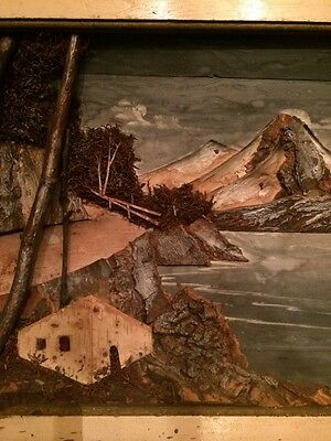 Amazing!!! Vintage Hand Painted and Crafted in Japan Wood Diorama Wall Art