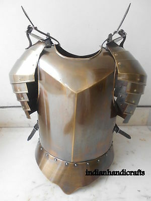 MEDIEVAL BREAST PLATE ARMOR W/SHOULDERS FLUTE Brass Antique ARMOR LARP GTY7846
