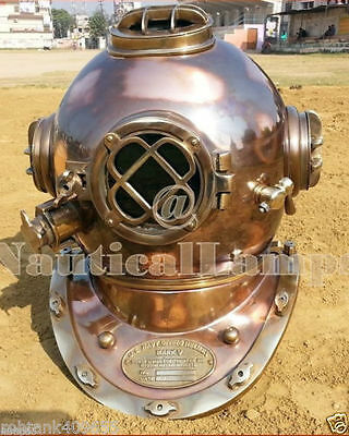 Boston Mass U.S Navy Mark V Solid Copper & BRASS Divers Diving Helmet MKJ52
