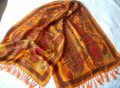 Vintage Printed Pure Silk Scarf Stole Made India Fringed Orange Red Paisley