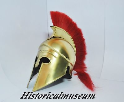 Greek Corinthian Helmet Brass FINISH W/RED Plume B1 Medieval Knight