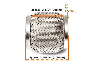 """Heavy Duty Exhaust Flex Pipe Stainless Steel Double Braided 3.94"""" x 3.15"""" x 3"""""""