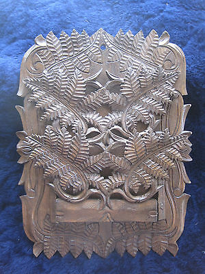 Antique Victorian Hand Carved Wood Wall Letter / Mail Holder - Black Forest (?)