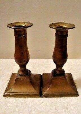 """Pair Antique Solid Bronze Brass Candlestick Holder Square Base 5-5/8"""" High"""