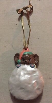 Hand Painted Ceramic Christmas Mouse & Snowball Ornament