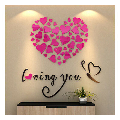 Wall Art Sticker Quote Kitchen Heart Home Dining Room Large Wall Paper 3572U