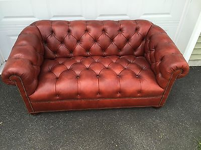 Ethan Allen Leather Chesterfield Sofa Rust Color