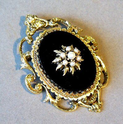 VINTAGE MULTIPLE NATURAL PEARL + ONYX 14K YELLOW GOLD BROOCH PIN PENDANT 24 gr.