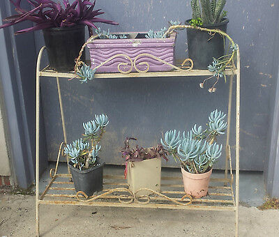 Vintage Retro wrought iron Metal Stand Pot Plant Holder Outdoor mid-century 60s
