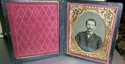 Tintype Photo in leather Case Gentleman Picture Book Photograph