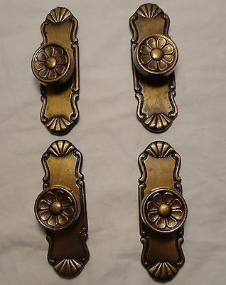 Vintage Brass Flower Floral Drawer Pull Cabinet Door Knob Set of 4 Lot RSV Italy