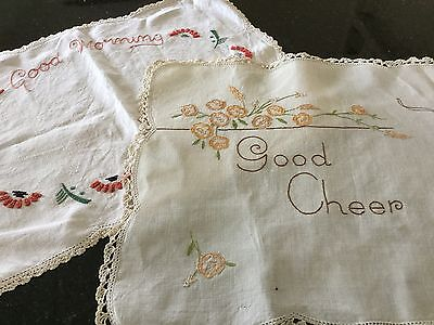 Vintage Hand Embroidered Breakfast Tray Doillies