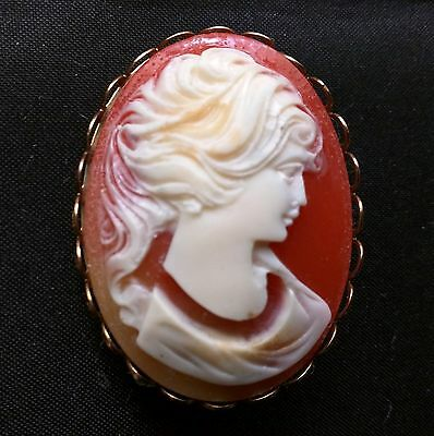 Vintage Pink Lady head Cameo Brooch Pin