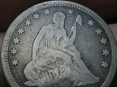 1866, 1876 or 1886 Silver Seated Liberty Quarter- VG Details