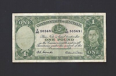Australian 1952 Coombs/wilson 1 One Pound Banknote Vf